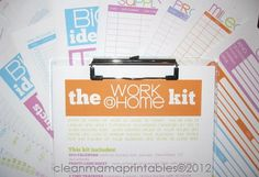 2013 WORK At Home Kit  23 documents  by CleanMamaPrintables