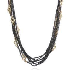 Fabulous 8 strand oxidized cable chain necklace with scattered 18k yellow gold scroll stations for $3,560 at http://www.desiresbymikolay.com/collections/armenta/products/armenta-multi-strand-scroll-chain-necklace