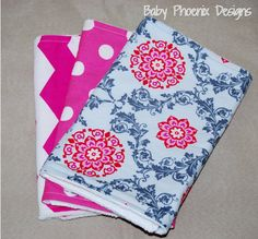 Baby girl burp cloth set! Chenille or terry cloth - Chevron, polka dot and scroll #bestofEtsy #gifts