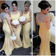 Cheap Mermaid Yellow Bridesmaid Dresses 2015 Scoop Neck Beaded Crystals Plus Size Bridesmaids Dresses For Weddings Maid Of Honor Dresses White Bridesmaid Dress Wine Bridesmaid Dresses From Gracedressonline, $80.11  Dhgate.Com