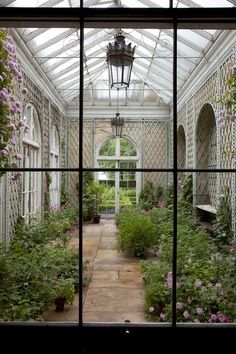 """Interior greenhouse walls done with lattice so you can have plants climb. """"The English Country House"""". Authored by James Peill, photographed by James Fennell Outdoor Rooms, Outdoor Gardens, Outdoor Living, Magic Places, Pergola, Gazebos, Conservatory Garden, Victorian Conservatory, Patio Interior"""