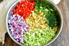 ingredients in a metal mixing bowl laid in side by side: macaroni, chopped pepper, chopped onions, chopped celery, green onions and herbs Best Salad Recipes, Side Recipes, Pasta Recipes, Cooking Recipes, Macaroni Recipes, Pasta Meals, Snacks Recipes, Cooking Ideas, Beef Recipes