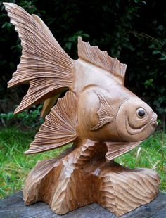 Amazing Carved LARGE WOODEN FIGURE FISH BROWN COLOUR 30 cm in Home, Furniture & DIY, Home Decor, Decorative Ornaments & Figures | eBay