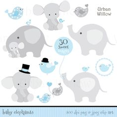 Juego de BABY Boy elefantes Clip art & digitales por UrbanWillow