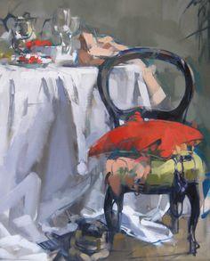 """Red Pillow"" Maggie Siner 24x30 inches oil on linen #art #artwork #fineart…"