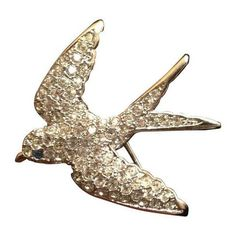Smithsonian Rhinestone Swallow Brooch (1 855 UAH) ❤ liked on Polyvore featuring jewelry, brooches, brooches & lapel pins, blue jewelry, rhinestone broach, dot jewelry, blue dot jewelry and rhinestone costume jewelry