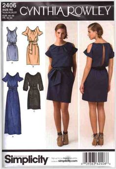 Simplicity Sewing Pattern 2406 Misses' Dress in three lengths with sleeve variations Size: H5 6-8-10-12-14 / R5 14-16-18-20-22 Uncut