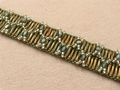 Double Cross Square Stitch Bracelet Free Beading Pattern: Materials and Resource List & rolling pics