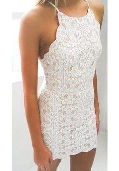 White Geometric Condole Belt Cross Back Wavy Edge Backless Lace Dress - Mini Dresses - Dresses