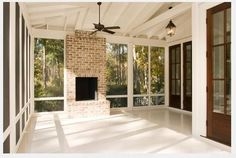 Perfect porch fireplace - no overkill Our Town Plans 55 Shenandoah Ct Window length Home Porch, House With Porch, Porch Bar, Porch Fireplace, Simple Fireplace, Pallet Fireplace, Fireplace Candles, Craftsman Fireplace, Brick Fireplaces