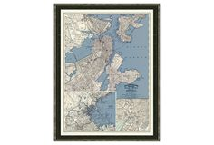 This wonderfully detailed map of Boston is a giclée print of the original on fine paper. It is set off in a black-and-silver wood frame, ready for display.