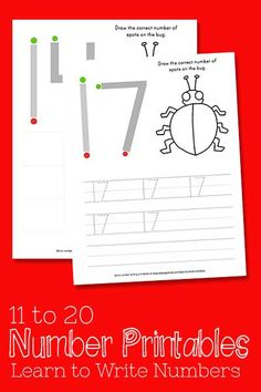FREE! Learn to Write Numbers 11-20 Free Printables. Preschool math and number writing practice.