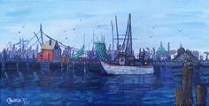 Fishing Harbor and Biloxi Mississippi Shrimping by Artbycindyj