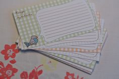 Printable Bird Recipe Cards...made these too. Cute but small recipe cards. I like mine a little bigger