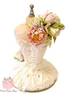 (backside) Bridal Corset Cake by Pink Cake Box in Denville, NJ.  More photos and videos at http://blog.pinkcakebox.com/bridal-corset-cake-2013-05-28.htm
