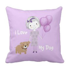 I Love My Dog Cute Purple Kids Picture Throw Pillow