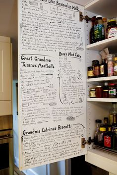 Love recipes. Love writing on walls. This is a win-win.