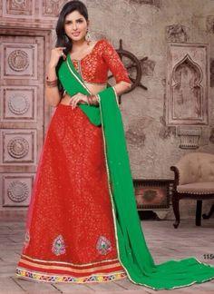Red And Green Net With Brocade Wedding Lehenga Choli