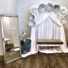 A beautiful photo booth setup by One of a few mirrors from last weekend and grey paper flowers with glitter to match the invitations. Carnival Tickets, Diy Carnival, Photo Booth Setup, Photo Booths, Printable Tickets, Free Printable, Wedding Mirror, Wedding Reception Signs, Paper Flowers
