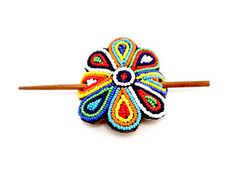 Fair trade, beaded, hair pin, handmade, with leather and multicolored beads, pretty, bohemian, gifts, for girls, African accessories
