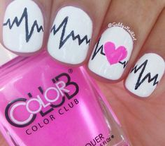 VDay Nails: Simple Heartbeat Nails