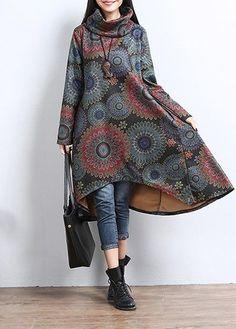 Printed Cowl Neck Long Sleeve Asymmetric Hem Dress