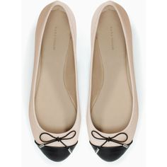 Zara Cap-Toe Ballerina Flat (75 BRL) ❤ liked on Polyvore featuring shoes, flats, sapatilha, captoe shoes, zara flats, skimmer shoes, ballerina pumps and skimmer flats