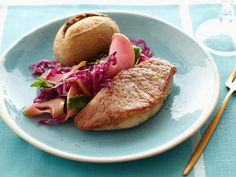 Pork Tenderloin Steaks with Wilted Cabbage and Apples from Food Network Kitchens #myplate #protein #veggies
