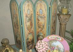Francois Boucher Love Panels & Sevres from French Chateau.brought back from NYC & my niece created this tabletop screen & plate from Carmel Calif Refinished Furniture, Painted Furniture, Painted Screens, Dressing Screen, French Bathroom, Folding Screens, Painted Tables, French Home Decor, French Chateau