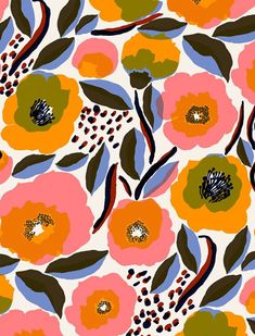 new arrivals at Marimekko Boho Pattern, Textile Pattern Design, Surface Pattern Design, Textile Patterns, Pattern Art, Abstract Pattern, Print Patterns, Floral Patterns, Flower Pattern Design