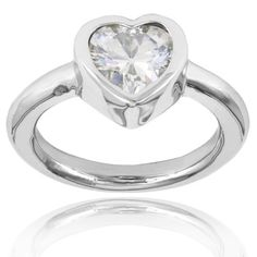 Shop for ELYA Stainless Steel Heart-cut Inlaid Cubic Zirconia Ring. Free…