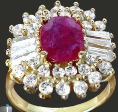 Glamorous 9.5 ctw Natural Ruby/White Topaz Glam Ring~925 SS/14KT YG~Sz. 8~Heirloom! Sale!