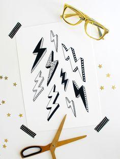 Kids Wall Art Geometric Lightning Bolt Black and White Illustrated Poster Print by Heartland Studio