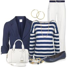 Navy and White by lisamoran on Polyvore featuring polyvore fashion style Kaliko Vero Moda Balmain Cole Haan Melissa Odabash FOSSIL GANT