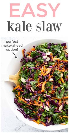 Craving a refreshing and colourful salad? This easy and delicious kale salad with cranberries is sure to be a hit with family and friends! The best part is, it lasts in the fridge for up to a few days so it's the perfect make-ahead option! Healthy Side Dishes, Vegetable Side Dishes, Healthy Salads, Healthy Eating, Healthy Food, Dairy Free Recipes, Vegetarian Recipes, Healthy Recipes, Gluten Free