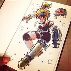 ⭐️Samus Aran, Space Bounty Hunter⭐️☄️ #art #characterdesign #drawing #sketch #ink #watercolor #samus #gaming Q reup!