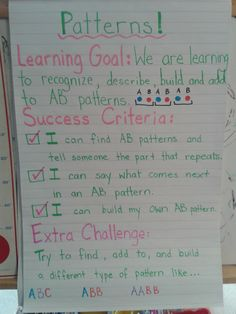 Patterning Learning Goals and Success Criteria for Kindergarten! - Visual Learning - Patterning Learning Goals and Success Criteria for Kindergarten! Patterning Kindergarten, Kindergarten Math, Teaching Math, Preschool, Primary Teaching, Teaching Ideas, Learning Targets, Learning Goals, Learning Objectives