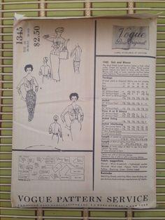 1956 Vintage Vogue Paris Original Jacques Fath Pattern 1345 Suit Blouse