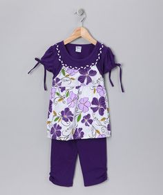 Take a look at this Purple Pansy Layered Tunic & Capri Pants - Toddler & Girls by Blow-Out on #zulily today!