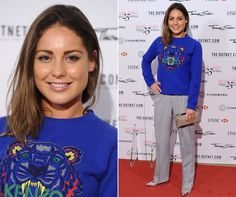 Made In Chelsea's Louise Thompson goes for a dressed-down red carpet look in a blue Kenzo sweat and tailored trousers. Louise Thompson, Anniversary Parties, 25th Anniversary, Made In Chelsea, In The Flesh, Up Hairstyles, Marie Claire, Casual Looks