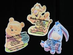 Unique Personalized Baby Shower Winnie the Pooh, Tigger or Eyore Shaped Invitations with Envelopes. $12.99, via Etsy.