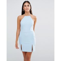 Rare Square Neck Mini Dress With Split Detail (53 NZD) ❤ liked on Polyvore featuring dresses, blue, square neck dress, square neckline dress, zip back dress, textured dress and high neck dress