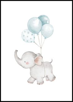 Nice kids poster with an animal motif depicting an elephant floating freely with the use of pastel colored balloons. Elephant Poster, Elephant Nursery Art, Baby Elephant, Giraffe, Baby Posters, Love Posters, Good Morning Posters, Moon Balloon, Elephant Balloon