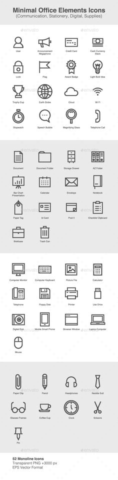 Minimal Office Elements Icons - Business #Icons