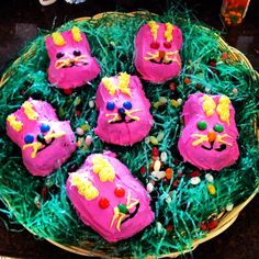 Cute little bunny cakes for Easter! Made them with my mother. Fun and easy