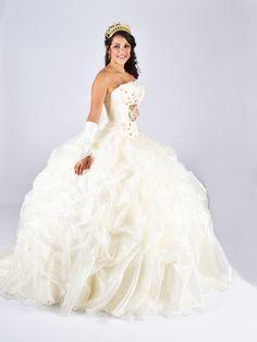 BallGown Strapless Organza Chapel Train Ivory Pick-Ups Quinceanera Dress at sweetquinceaneradress.com