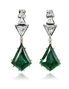 Ara Vartanian emerald drop earrings with triangle-cut diamonds in white and rose gold.