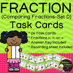 ***50% off the FIRST 48 hours!***Note: This set is also a part of a BUNDLE of Fraction Task Cards- Comparing Fractions Set A-D!Fraction Task Cards (Comparing Fractions -Set D)This colorful set of 24 task cards with comparing fraction questions with >,< or = using square shapes.This set is a wonderful addition to your lessons!