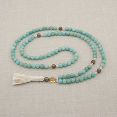 Amazonite 108 Mala Beads Prayer Beads by GoldenLotusMala on Etsy, $40.00