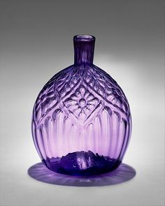 Pocket bottle -- Attributed to American Flint Glass Manufactory Pennsylvania Maker: Attributed to Henry William Stiegel Blown pattern-molded glass H. Purple Love, All Things Purple, Purple Glass, Shades Of Purple, Purple Stuff, Antique Bottles, Vintage Bottles, Antique Glass, Decoration